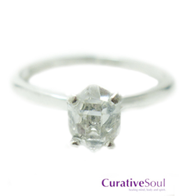 Herkimer Diamond Ring - 1.5 ct in Sterling Silver