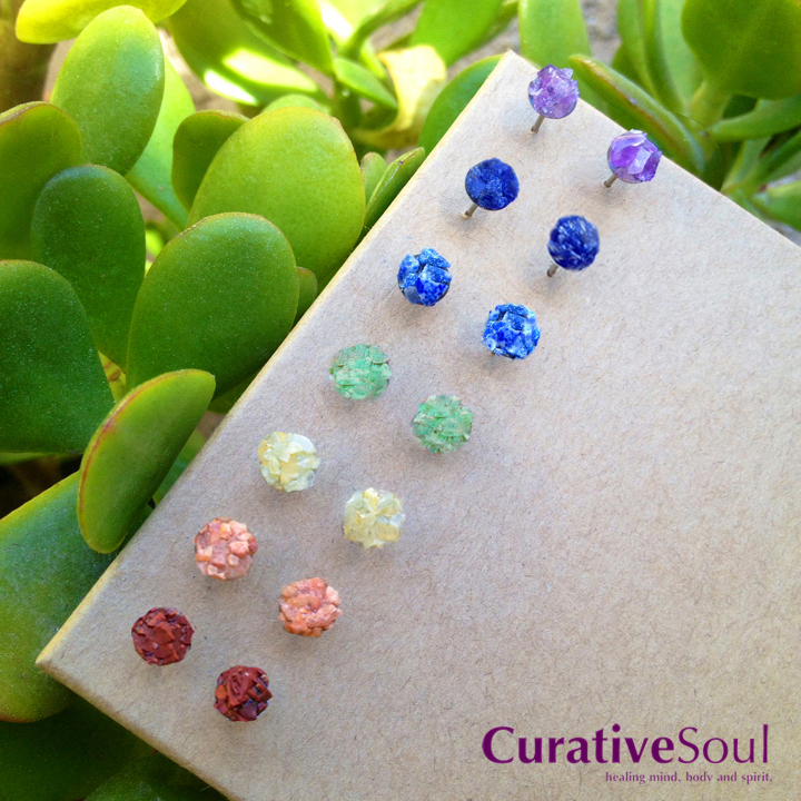 Chakra Stone Stud Earrings - 7 Pair Set