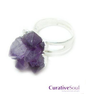 Amethyst Cluster Ring in Silver - Adjustable