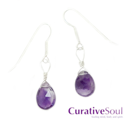 Amethyst Faceted Teardrop Earrings