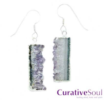 Amethyst Geode Slice Earrings