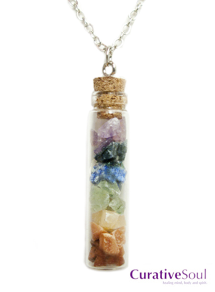 Chakra Stones in Corked Vial Necklace - Click Image to Close