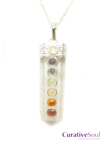 Quartz Crystal 7 Chakra Necklace
