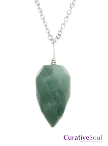 Green Aventurine Faceted Drop Necklace