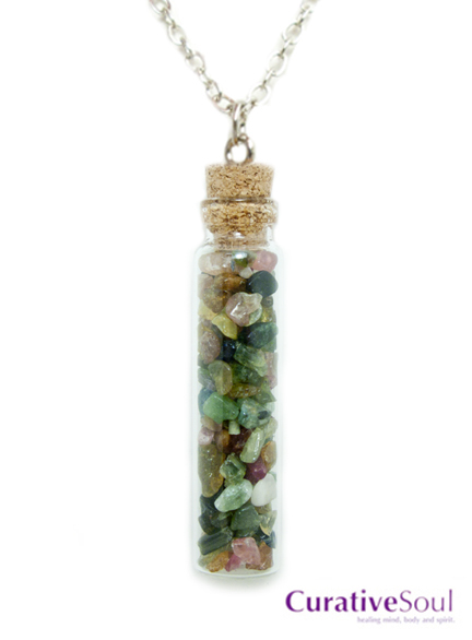 Multicolored Tourmaline in Corked Bottle Necklace